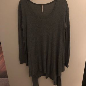 Free People Light Heather Gray Long Sleeve Top